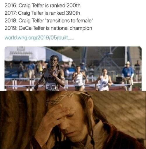 2016 Craig Telfer is ranked 200th 2017 Craig Telfer is ranked 390th 2018 Craig Telfer transitions to female 2019 CeCe Telfer is national champion memes