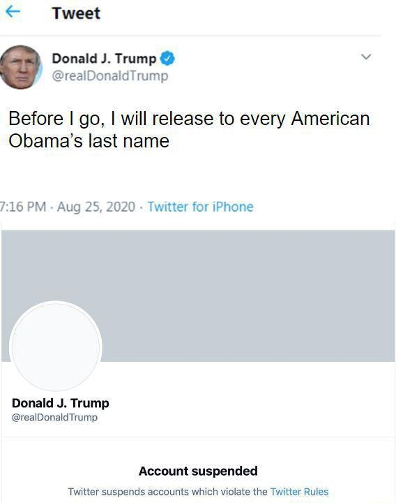 Tweet Donald J. Trump dTr Before I go, I will release to every American Obama's last name PM Aug 25, 2020  Twitter for iPhone Donald J. Trump realDonaldTrump Account suspended memes