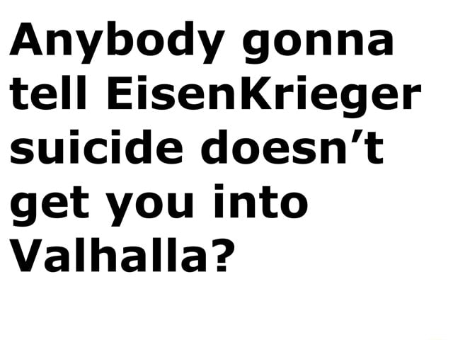 Anybody gonna tell EisenKrieger suicide doesn't get you into Valhalla memes