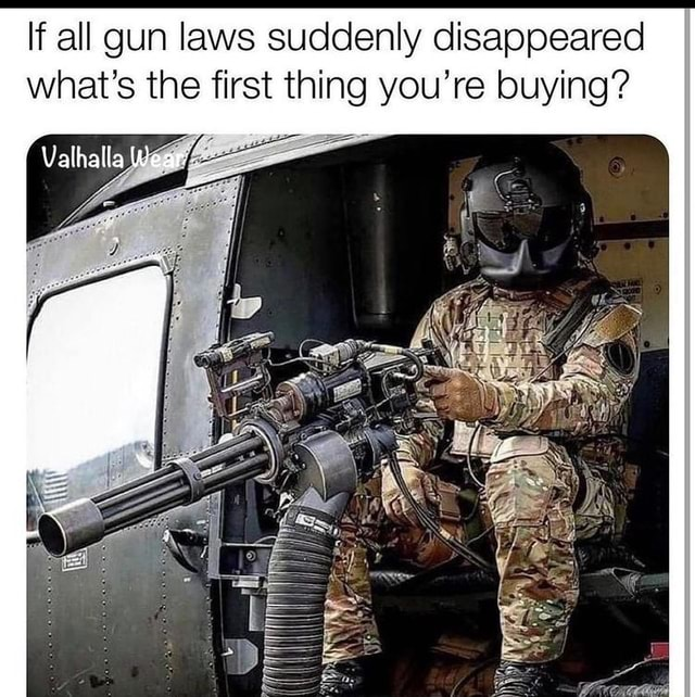 If all gun laws suddenly disappeared what's the first thing you're buying Valhalla Wean memes