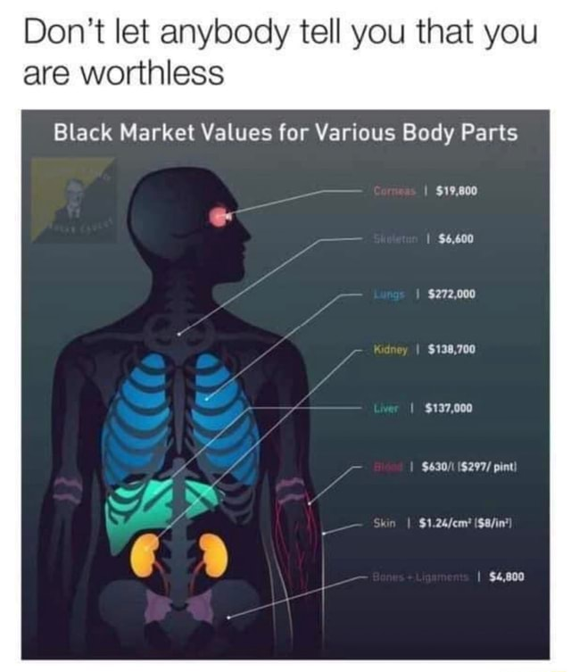 Do not let anybody tell you that you are worthless Black Market Values for Various Body Parts $19,800 $6,600 $272,000 $138,700 $137,000 $630 $297 pint Shin $4,800 memes