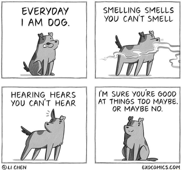 EVERYDAY AM DOG. HEARING HEARS YOU CAN'T HEAR Uu CHEN SMELLING SMELLS You CAN'T SMELL I I'M SURE YOU'RE GOOD AT THINGS TOO MAYBE. OR MAYBE NO. EXOCOMICS.CONM memes