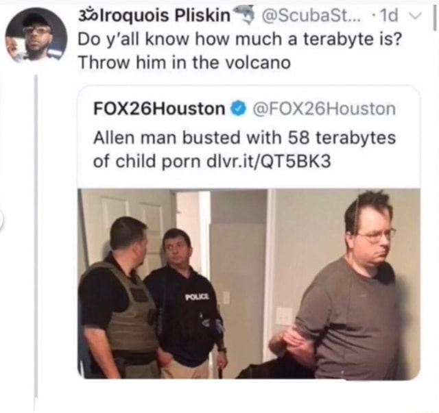 Lroquois ScubasSt Do y'all know how much a terabyte is Throw him in the volcano FOX26Houston FOX2GHouston Allen man busted with 58 terabytes of child porn meme