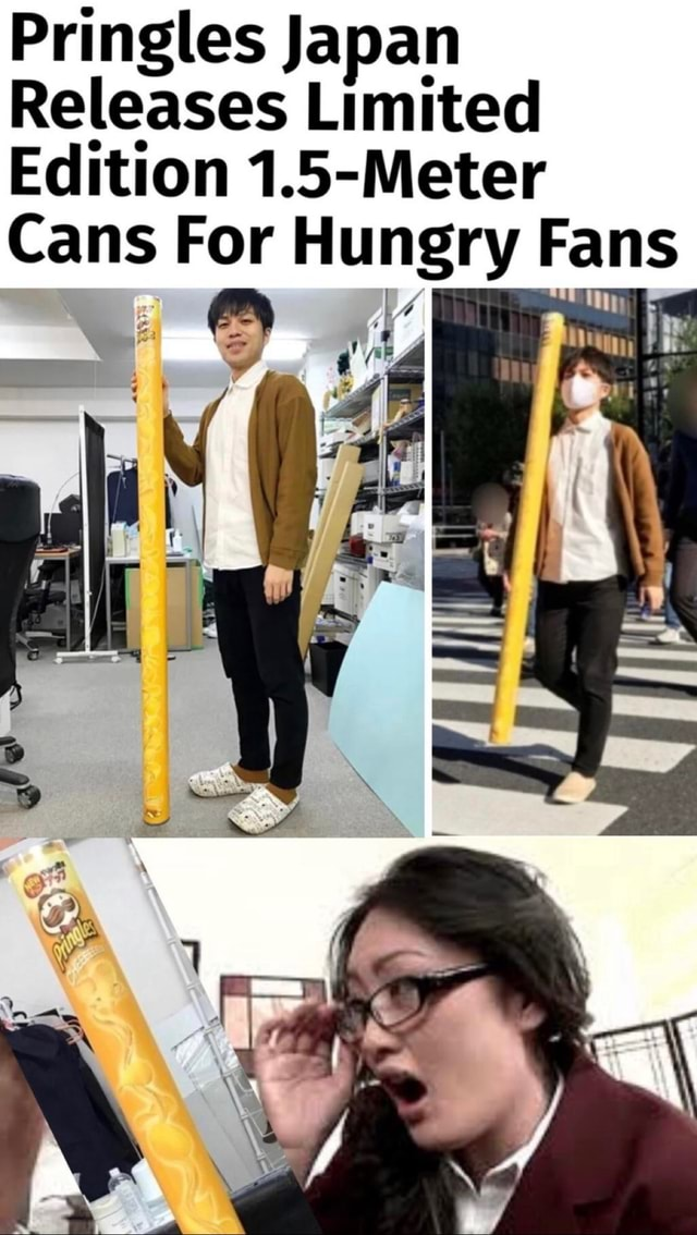 Pringles Japan Releases Limited Edition 1.5 Meter Cans For Hungry Fans meme