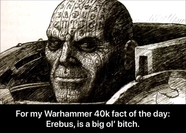 For my Warhammer fact of the day Erebus, is a big ol bitch.  For my Warhammer 40k fact of the day Erebus, is a big ol' bitch memes