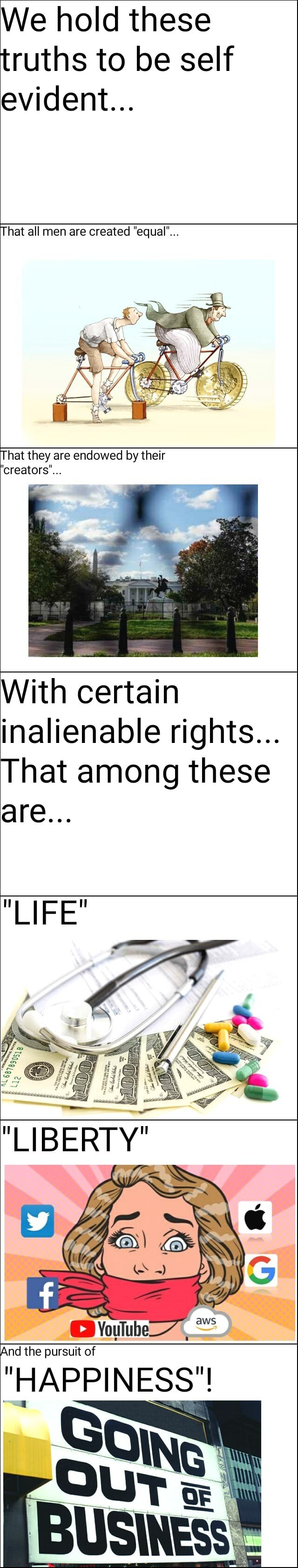 We hold these truths to be self evident That all men are created equal' That they are endowed by their creators'. With certain inalienable rights That among these are LIFE LIBERTY And the pursuit of HAPPINESS meme