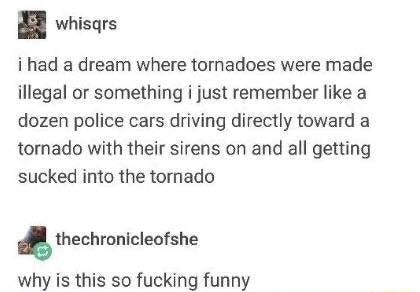 Whisqrs i had a dream where tornadoes were made illegal or something i just remember like a dozen police cars driving directly toward a tornado with their sirens on and all getting sucked into the tornado thechronicleotshe why is this so fucking funny meme
