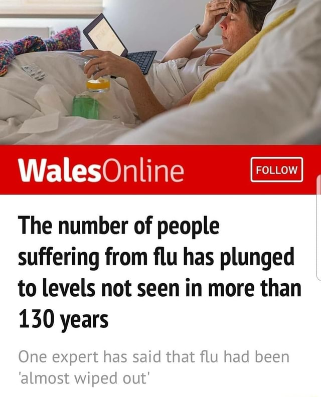 Wales The number of people suffering from flu has plunged to levels not seen in more than 130 years One expert has said that flu had been almost wiped out meme