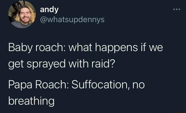 EN andy whatsupdennys Baby roach what happens if we get sprayed with raid Papa Roach Suffocation, no breathing meme