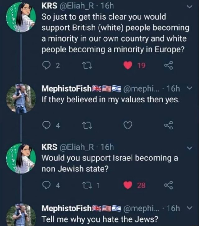 KRS Eliah R So just to get this clear you would support British white people becoming a minority in our own country and white people becoming a minority in Europe e mephi If they believed in my values then yes. oF Q KRS Eliah R Would you support Israel becoming a non Jewish state or mephi Tell me why you hate the Jews memes