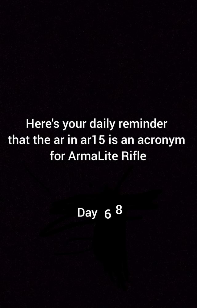 Here's your daily reminder that the ar in ar15 is an acronym for ArmaLite Rifle Day meme