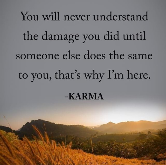 You will never understand the damage you did until someone else does the same to you, that's why I'm here. KARMA memes