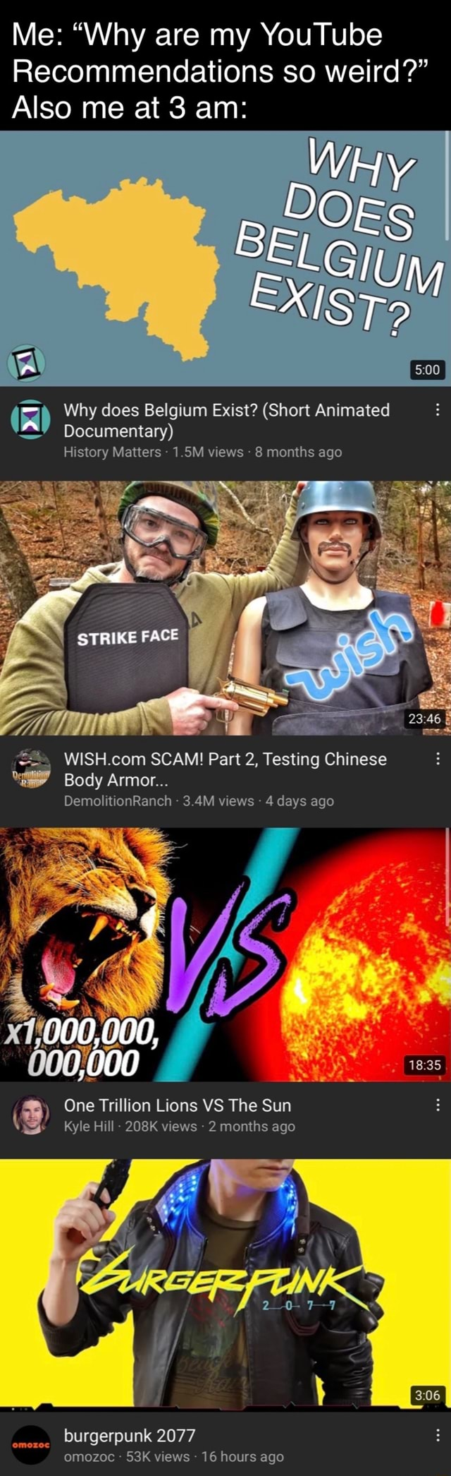 Me Why are my YouTube Recommendations so weird Also me at 3 am Why does Belgium Exist Short Animated Documentary History Matters 1.5M views 8 months ago STRIKE FACE SCAM Part 2, Testing Chinese Body Armor DemolitionRanch 3.4M views 4 days ago 900,000, One Trillion Lions VS The Sun Kyle Hill 208K views 2 months ago burgerpunk 2077 omozoc views 16 hours ago omozoc meme
