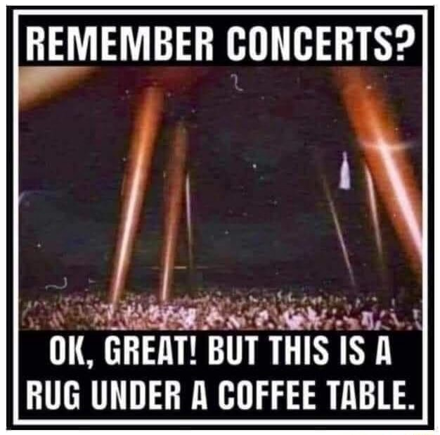 REMEMBER CONCERTS OK, GREAT BUT THIS IS RUG UNDER A COFFEE TABLE memes