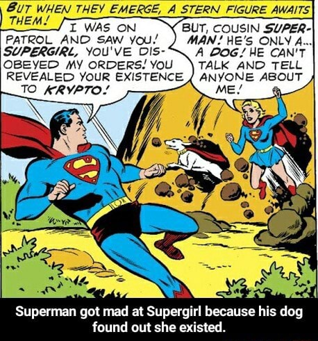 IGURE AWAITS BUT, COUSIN SUPER MAN HE'S ONLY A , A DOG HE CAN'T TALK AND TELL PATROL AND SAW you SUPERGIRL, YOU'VE DIs OBEYED MY ORDERS YOU TALK AND TELL REVEALED YouR EXISTENCE ANYONE ABOUT Superman got mad at Supergirl because his dog found out she existed.  Superman got mad at Supergirl because his dog found out she existed memes