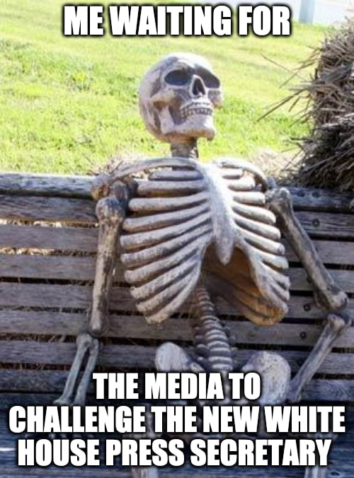 ME WAITING FOR THE MEDIA TO CHALLENGE THE NEW WHITE HOUSE PRESS SECRETARY meme