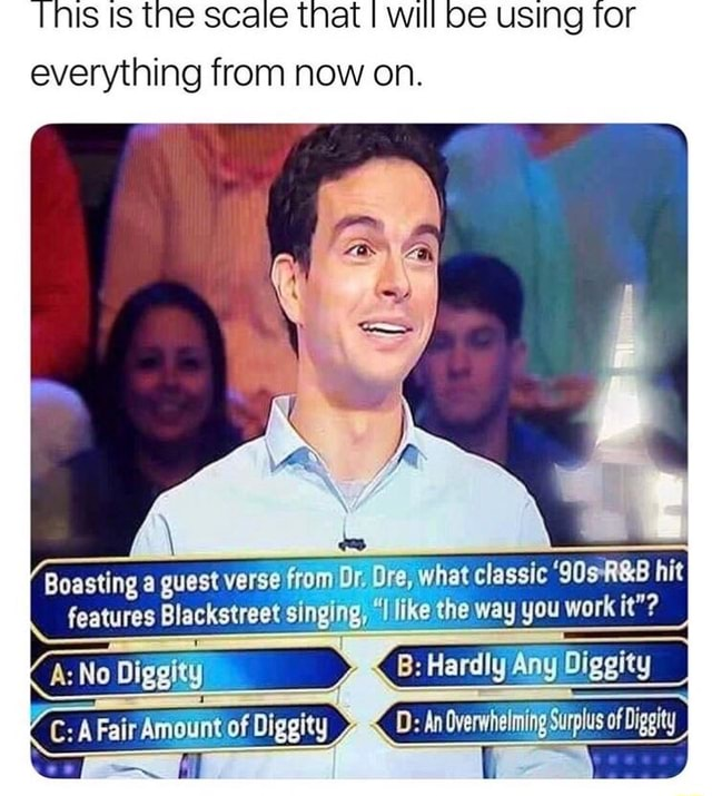 'THIS IS the scale that will be using Tor everything from now on. Boasting a guest Verse from Ox, what classic hit features Blackstreet singing, like the way you wi A No Diggity B Hardly Any Dig 1  l  A Fair Amount of Diggity D An Overwhelming Surplus of Diggity memes