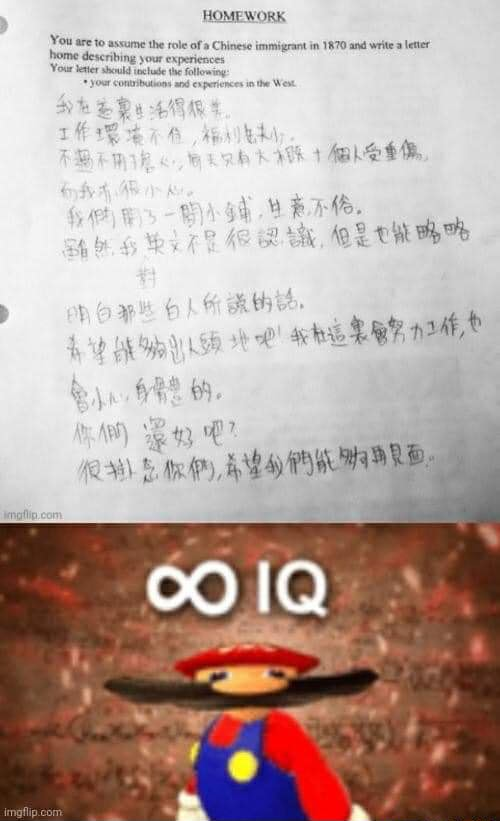 HOMEWORK You are to assume the role of Chinese immigrant in 1870 and rite eter Your desriing your experi Your meme