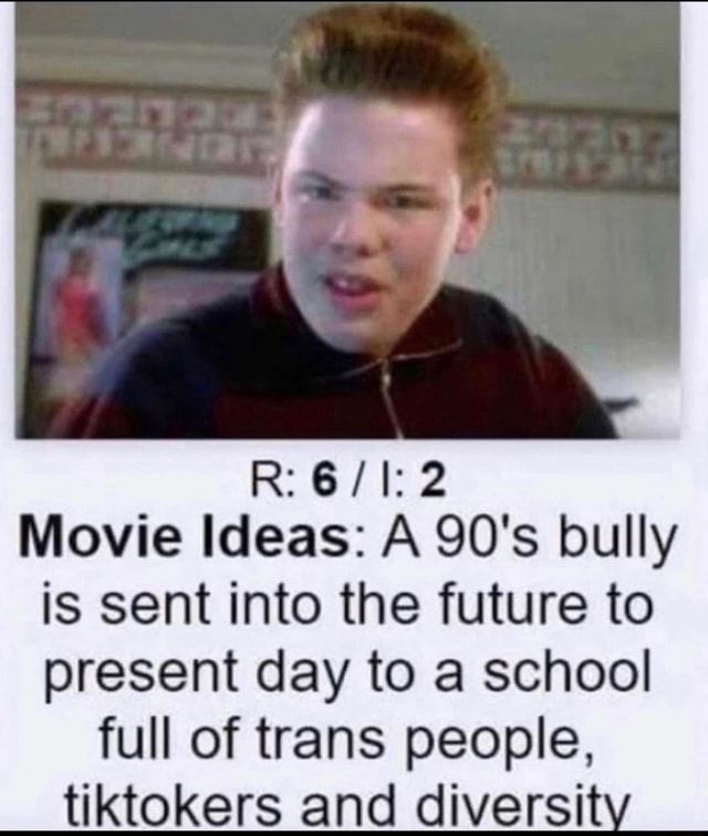 Movie Ideas A 90's bully is sent into the future to present day to a school full of trans people, tiktokers and diversit meme