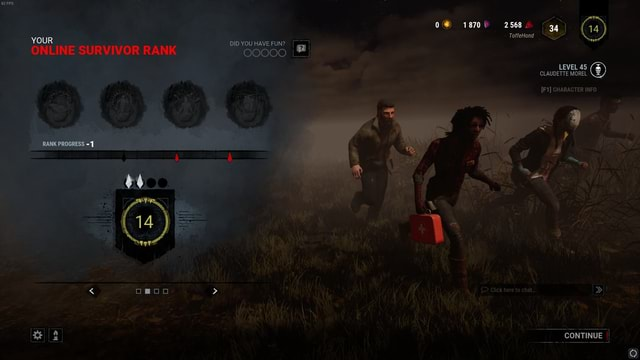 YOUR DID YOU HAVE FUN ONLINE SURVIVOR RANK PROGRESS  oomoo  0 18700 2568. 9, ToffeHond LEVEL 45 CLAUDETTE MOREL CHARACTER INFO OO00O0  iY   Click here to chat CONTINUE memes