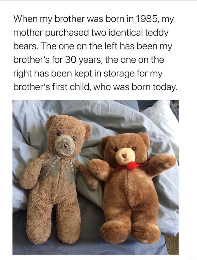 When my brother was born in 1985, my mother purchased two identical teddy bears. The one on the left has been my brother's for 30 years, the one on the right has been kept in storage for my brother's first child, who was born today memes