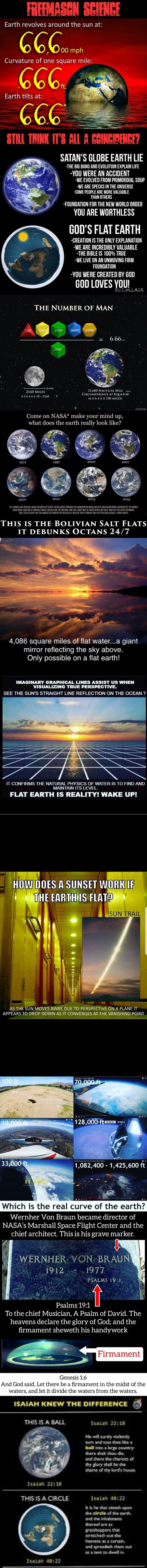 Earth revolves around the sun at 66 00 mph Curvature of one square mile Earth tilts at 666 STULL THINK IT'S ALL ESINGIBENGE SATAN'S GLOBE EARTH LIE THE BIG BANG AND EVOLUTION EXPLAIN LIFE YOU WERE AN ACCIDENT WE EVOLVED FROM PRIMORDIAL SOUP WE ARE SPECKS IN THE UNIVERSE SOME PEOPLE ARE MORE VALUABLE THAN OTHERS FOUNDATION FOR THE NEW WORLD ORDER YOU ARE WORTHLESS GOD'S FLAT EARTH CREATION IS THE ONLY EXPLANATION WE ARE INCREDIBLY VALUABLE THE BIBLE IS 100% TRUE WE LIVE ON AN UNMOVING FIRM FOUNDATION VOU WERE CREATED BY GOD GOD LOVES YOU Ge THE NUMBER OF MAN 6.66 2160 MILES 21,600 NAUTICAL MILE CIRCUMFERENCE AT EQUATOR. YoxDuss Come on NASA* make your mind up, what does the earth really look like 2007 2012 2013 2015 MUGES AE OFFAL OW MASA PICTURES OF ARH COLOUR TH THROUGH THE THE ASTRA THEE