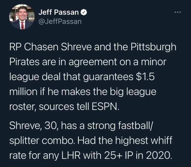 Jeff Passan JeffPassan RP Chasen Shreve and the Pittsburgh Pirates are in agreement on a minor league deal that guarantees $1.5 million if he makes the big league roster, sources tell ESPN. Shreve, 30, has a strong fastball splitter combo. Had the highest whiff rate for any LHR with 25 IP in 2020 memes