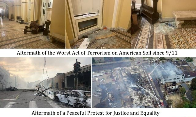 Aftermath of the Worst Act of Terrorism on American Sojl since Aftermath of Peaceful Protest for Justice and Equality memes