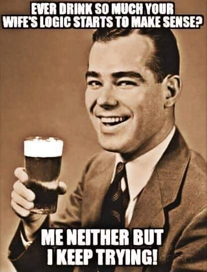 EVER DRINK SO MUCH YOUR WIFE'S LOGIC STARTS TO MAKE SENSE ME NEITHER BUT KEEP TRYING memes