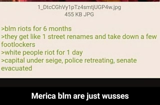 485 KB IPG rlots for 6 months sthey get like 1 street renames and take down a feotlockers swhite people riat for 1 day scapital under seige, police retreating, senate evacuated Merica blm are just wusses Merica blm are just wusses memes
