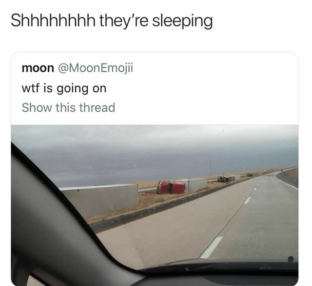 Shhhhhhhh they're sleeping moon MoonEmojii wif is going on Show this thread meme