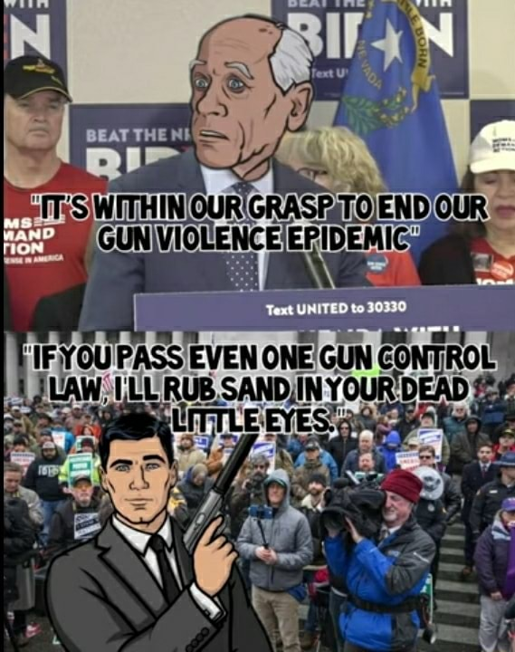 UNITED to PASS EVEN ONE GUN CONT RUB, SANDIIN YOUR DEAD memes