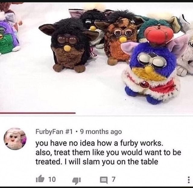 Cr FurbyFan 1 9 months ago you have no idea how a furby works. also, treat them like you would want to be treated. I will slam you on the table gt memes
