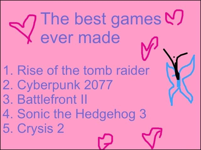 The best games Y ever made 1. Rise of the tomb raider 2. Cyberpunk 2077 3. Battlefront II 4. Sonic the Hedgehog 3 5. Crysis 2 o ww meme