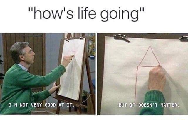 How's life going I'M NOT VERY GOOD AT IT memes