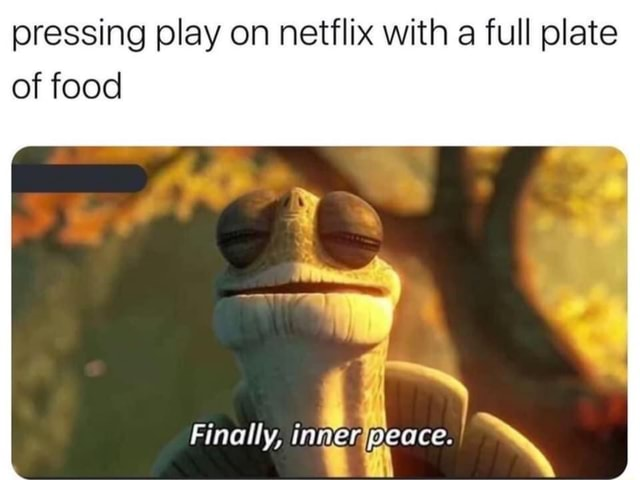 Pressing play on netflix with a full plate of food Finally, in peace memes