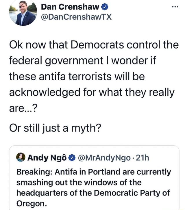 Dan Crenshaw DanCrenshawTX Ok now that Democrats control the federal government I wonder if these antifa terrorists will be acknowledged for what they really are  Or still just a myth Andy  MrAndyNgo Breaking Antifa in Portland are currently smashing out the windows of the headquarters of the Democratic Party of Oregon meme