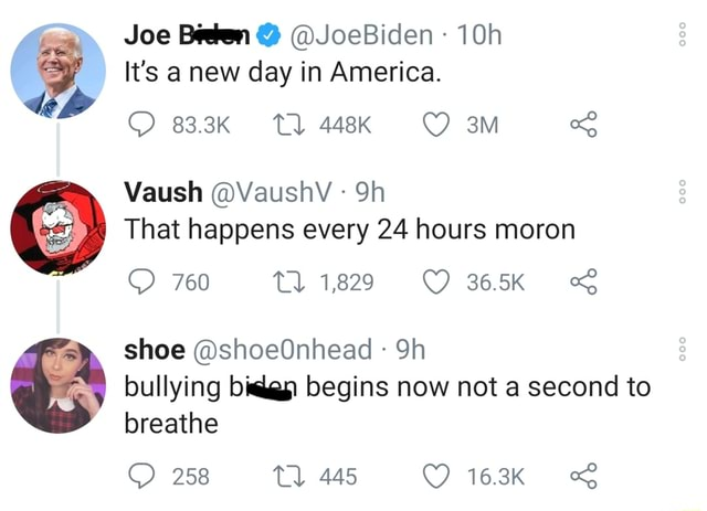 Joe Been  JoeBiden It's a new day in America. 83.3K Tl 448K Vaush VaushV Sh That happens every 24 hours moron 760 Tl 1829 365K shoe shoeOnhead bullying bika begins now not a second to breathe 258 445 163K memes