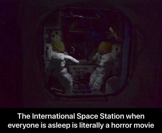 The International Space Station when everyone is asleep is literally a horror movie The International Space Station when everyone is asleep is literally a horror movie memes