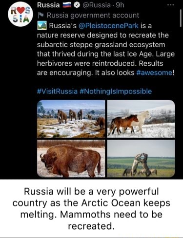 Russia ia Russia government nt Russia's PleistocenePark is a nature reserve designed to recreate the subarctic steppe grassland ecosystem that thrived during the last Ice Age. Large herbivores were reintroduced. Results are encouraging. It also looks awesome VisitRussia Nothinglsimpossible Russia will be very powerful country as the Arctic Ocean keeps melting. Mammoths need to be recreated memes