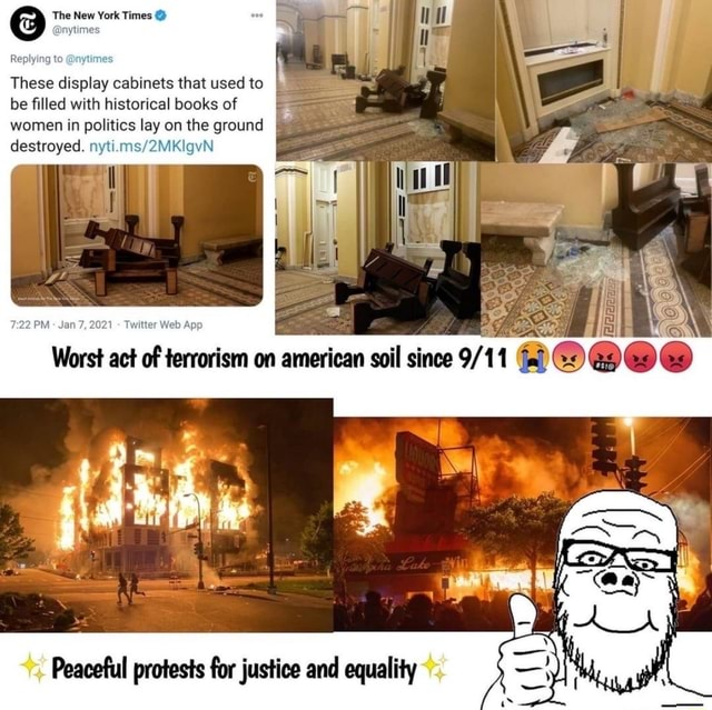 The New ytime York Times ytime Replying t These display cabinets that used to be filled with historical books of women in politics lay on the ground on re destroyed. Peaceful protests for justice and equality memes