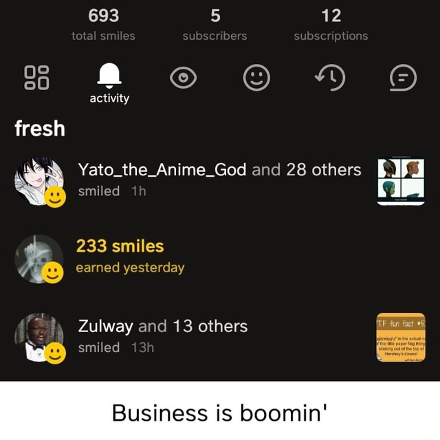 693 5 12 total sm es subscnbers subser pt ons HM activity fresh Yato the Anime God and 28 others smiled ih 233 smiles earned yesterday Zulway and 13 others smiled Business is boomin memes