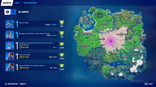 QUESTS MAP COLLECTIONS SORTING BY RARITY ALL QUESTS Collect Bars 8,402 10,000 Damage to Vehicles with a Player inside 4,153 5,000 I Complete a Quadcrasher Motorcross race in Party Royale Harvest Metal 206 500 Harvest Stone from Catty Corner 30 200 RARITY STEALTHY CLIFFS PLEASART COLOSSAL COLISEUM OW LAKE CORNER MISTY MEADOWS SALTY TOWERS CORAL CASTLE SWEATY HOLLY 1,000 WEEPING WOODS SLURPY, SWAMP. 1,000 1,000 STEAMY, STACKS. DocKs Ketivate Windows Go to Settings to activate Windows. Esc EXIT memes