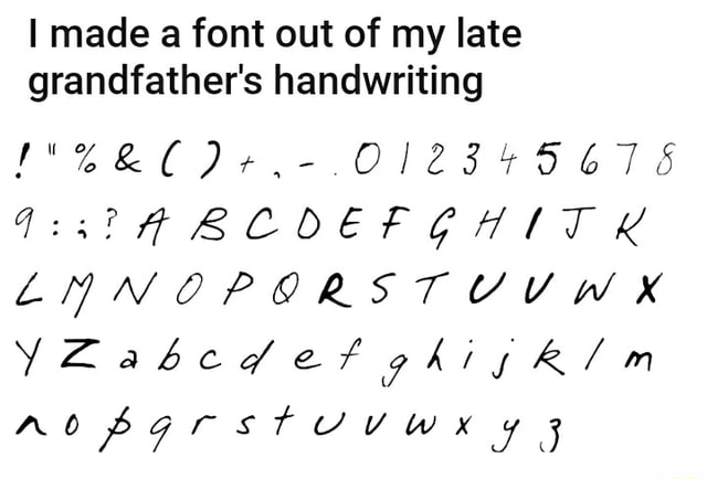 Made a font out of my late grandfather's handwriting OD, O12345 LNNOPORSTUUWKX memes