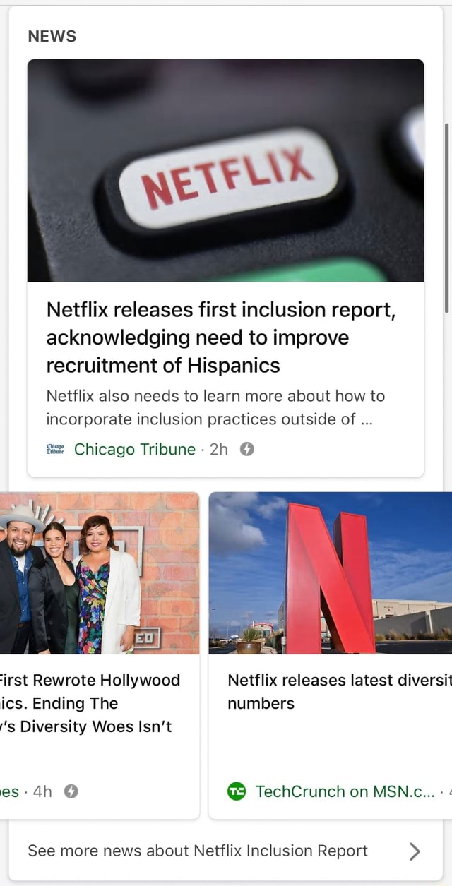 NEWS Netflix releases first inclusion report, acknowledging need to improve recruitment of Hispanics Netflix also needs to learn more about how to incorporate inclusion practices outside of Chicago Tribune irst Rewrote Hollywood Netflix releases latest diversi ics. Ending The numbers s Diversity Woes Isn't es TechCrunch on MSN.c See more news about Netflix Inclusion Report memes