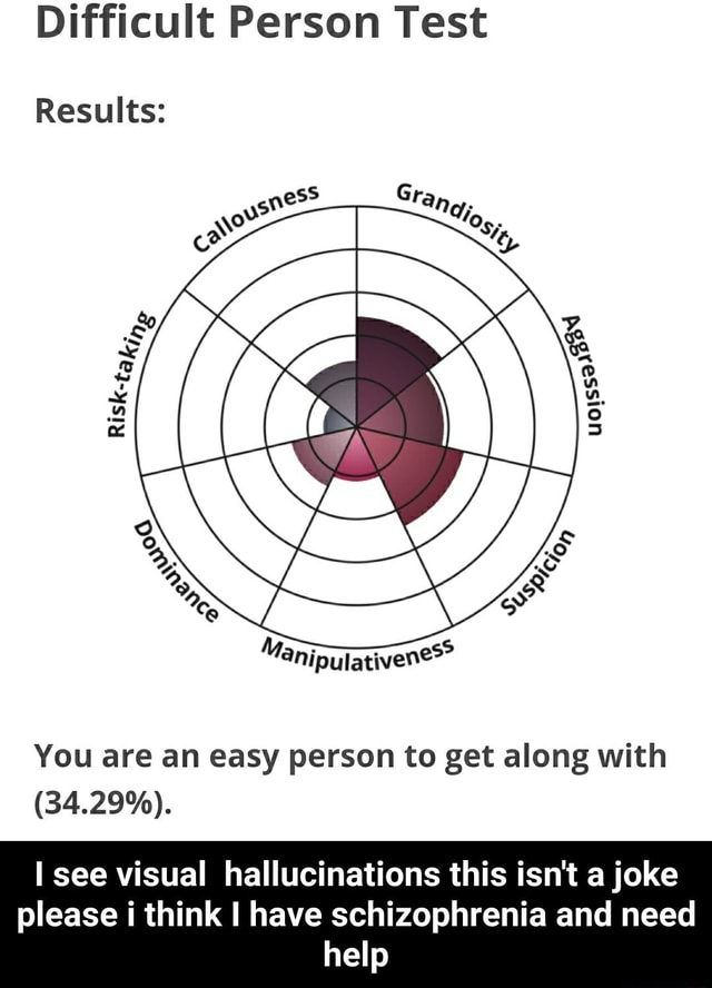Difficu Results It Person Test You are an easy person to get along with 34.29%. see visual hallucinations this isn't a joke please i think I have schizophrenia and need help I see visual hallucinations this isn't a joke please i think I have schizophrenia and need help memes