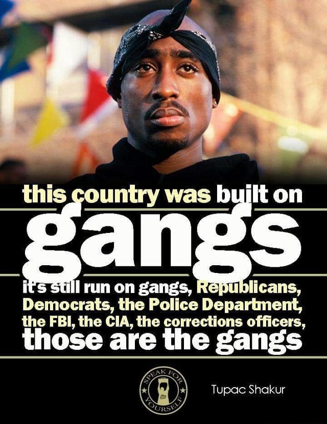 This countiny was on cans, Democrats, the Police on gangs, Department, the FBI, the CIA, the corrections officers, those are the gangs Tupac Shakur meme