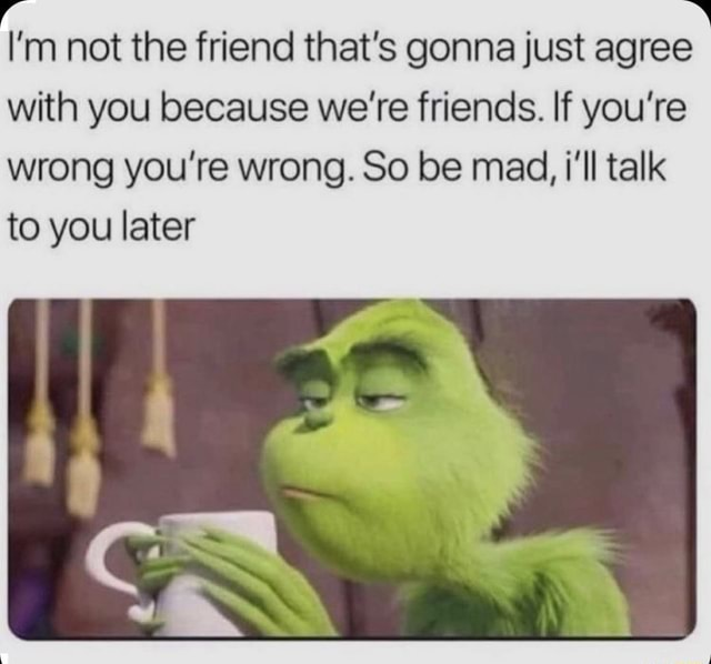 I'm not the friend that's gonna just agree with you because we're friends. If you're wrong you're wrong. So be mad, i'll talk to you later memes