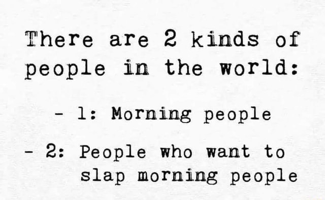 There are 2 kinds of people in the world ls Morning people 2 People who want to Slap morning people memes