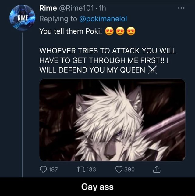 Rime Rime101 th Replying to pokimanelol You tell them Poki WHOEVER TRIES TO ATTACK YOU WILL HAVE TO GET THROUGH ME FIRST  I WILL DEFEND YOU MY QUEEN 187 390 Gay ass  Gay ass memes